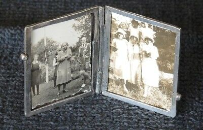 Unmarked Antique Hinged Standing Miniature Double Photo Frame Monogram #24