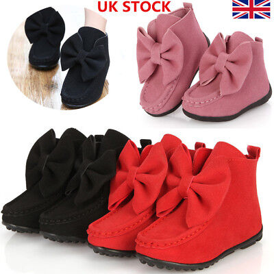 Girls Kids Casual Soft Flat Bowknot Princess Mid Ankle Boots Winter Shoes Size