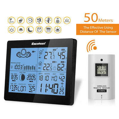 Digital Wireless Weather Station Forecast Temperature Humidity Barometer Time EU