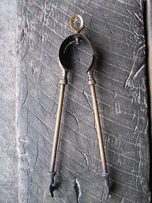 Vintage Brass Fire Tongs Tool