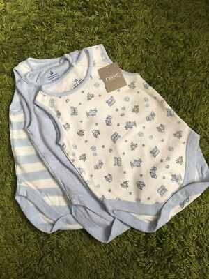 3 Pack Next Boys Bodysuits Babygrow 6-9 Months New With Tags