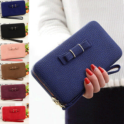 Ladies Bowknot Wallet Long Purse Phone Card Holder Clutch Large Capacity Pocket