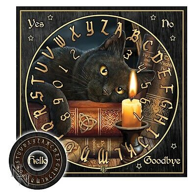 WITCHING HOUR SPIRIT OUIJA BOARD 36cm CAT CANDLE WICCA PAGAN OCCULT HALLOWEEN