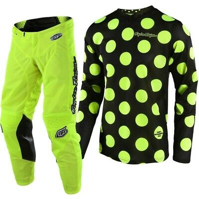 New 2018 Troy Lee GP Air Jersey Pant Kit Kids Youth Polka Dot YELLOW 22 24 26