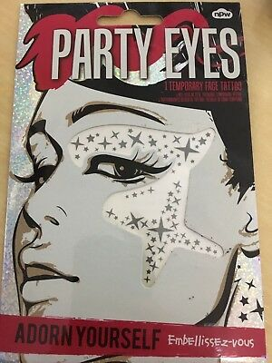 Party Eyes Temporary Eye Corner Silver Stars Transfer Stickers Face Gems