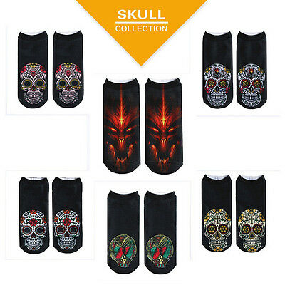 Autumn Unisex Mens Women Low Cut Ankle Socks Cotton Sock 3D Printed Skull 1 Pair