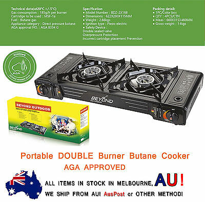 Portable Double (TWIN) Burner Gas Butane Cooker AGA APPROVE Stove WINDSHIELD