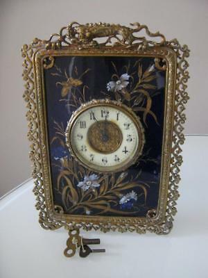 Stunning Antique French Ormolu Clock With Handpainted Enamel On Porcelain