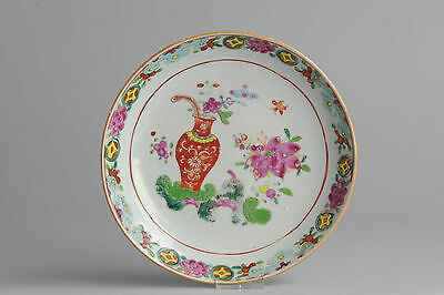 Very Nice 18c Qing Qianlong Pink Famille Porcelain Plate Chinese China Antique