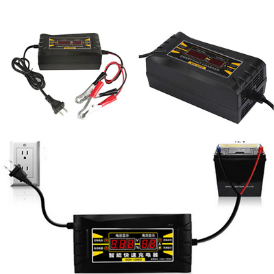 Genuine 12V 6A Smart Car Motorcycle Battery Charger LCD Display Black Universal