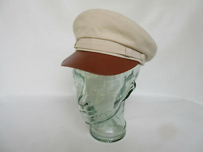 Canvas Fiddler Natural Leather Visor Hat Brando Gasoliner Cap Rockabilly Vintage