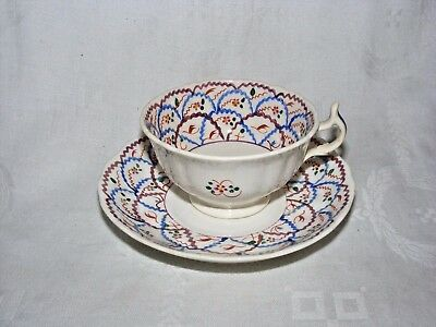 Antique Pearlware Welsh Swansea Lustre Cup & Saucer  Criss Cross Pattern