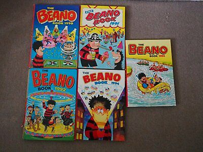 Bundle of 1990's Beano Book Annuals 1990/ 91/ 92/ 94 /95 most in VGC JOB LOT
