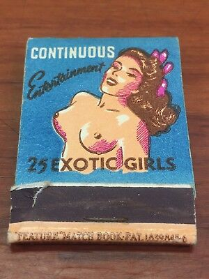Vintage 1950's The Gaiety 25 Exotic Girls Miami, FL. Advertising Match Book