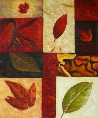 Autumnal Fall Season Abstract Hand Painted Stretched Canvas Art Red Oil Painting