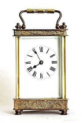 Antique French Gilt Brass Carriage Clock, Engraved Friezes, Serviced, Works Well