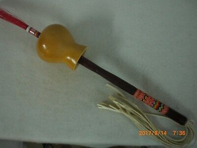Gourd Dance Rattle, Peyote Beaded Handle, Thread Wrapped Tip             gdr aw
