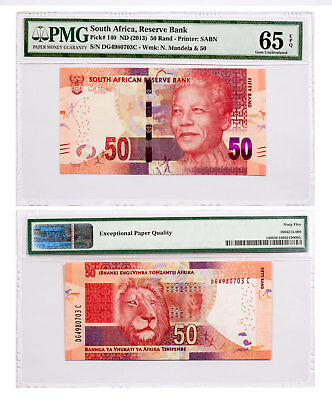 (2013) South Africa Reserve Bank 50R Note Pick #140 PMG Gem Unc 65 EPQ SKU47858