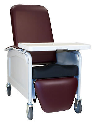 Three Position Lifecare Recliner with Saddle Seat Burgundy IV Pole at Left Rear