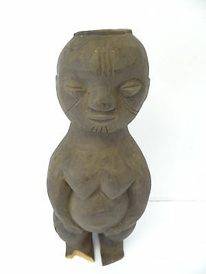Carved Wood African Standing Fertility Goddess Pregnant Woman Carving Figure