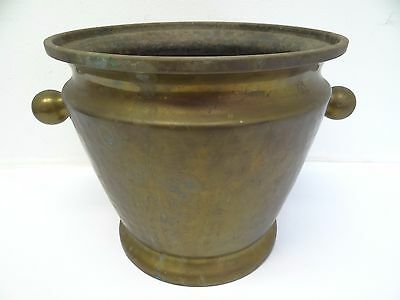 Antique Old Aspnaka BB Mocke Brass Hammered Handled Mortar Russian Planter Plant