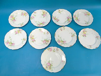 Vintage Set 9 Used CA France Pink Rose Flower Small Saucers Plates Dishes Old