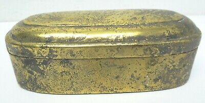 Antique Old Brass Metal Hinged Decorative Round Oval Trinket Box Container
