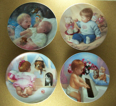 Complete Plate Set of 4 MAGO'S STUDIES OF EARLY CHILDHOOD Kittens Horse Bears