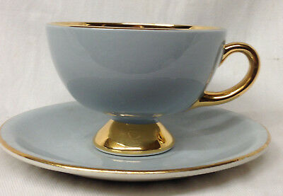 Egersund Porsgrund Norway Light Blue Grey & Gold Footed Cup & Saucer 4 Oz