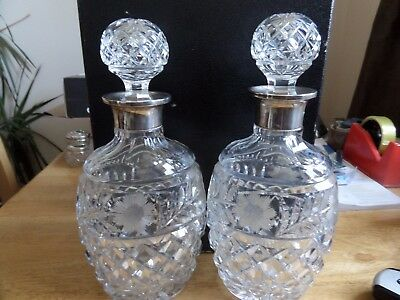 Pair Beautiful Solid Silver Collared Cut Glass Decanters Sheffield 1929