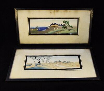 Pair Antique Chinese Water Colour Paintings Signed With Old Christies Label ANG