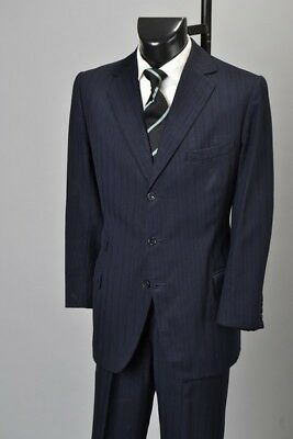 British Officers 1982 Bespoke Savile Row Pinstripe Lounge Suit With Braces. BTS