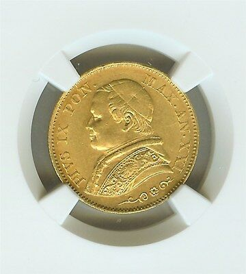 Italy 1866-R Gold 20 Lire W/reeded Edge -Papal States- Ngc Au58  Looks Unc!