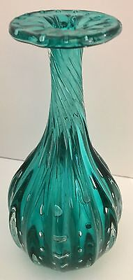 Art Glass Vase, Teal, Handcrafted, Blown Glass, Bullicante
