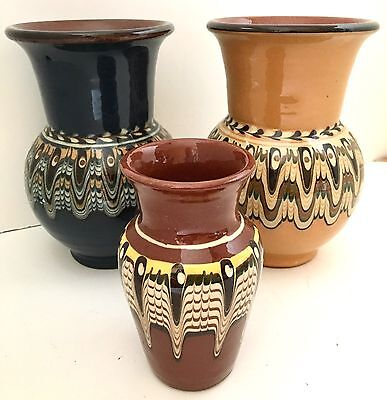 Hand Made Pottery Vases, Set of 3, Pulled Feather Glaze Slipware