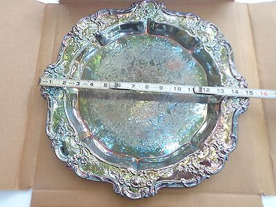 """Vintage TOWLE Old Master 15"""" Round Silverplate Serving Plate Platter Tray"""