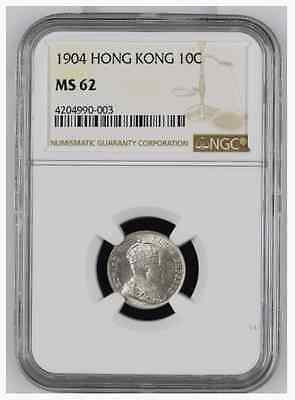 Hong Kong 10 Cents 1904 Ms 62 Ngc 4204990-003