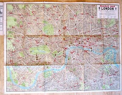Original 1912 Pharus Map and Guide of London - Large beautiful map