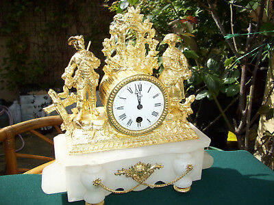 french alabaster and gilding antique clock,time piece only.