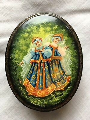 Russian Lacquer Box Fedoskino Twins FairyTale Vintage