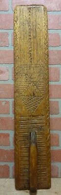 Antique Folk Art 1849 Decorative Art Hand Carved Wooden Mangle Board with Handle