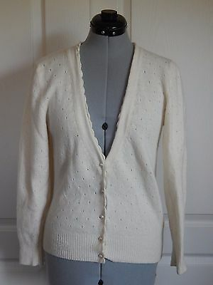 Vintage 80s Cardigan white Cream Sweater Faux Pearl Button Petite Lambswool S M