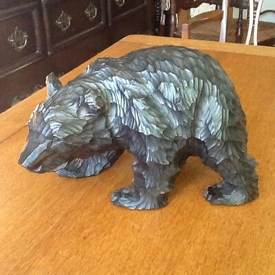 Antique carved wooden Russian bear
