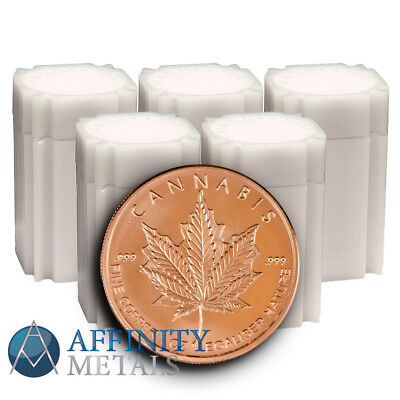 200 Coins 2017 Silver Shield Cannabis 1 oz Copper Bullion Rounds  In Tubes