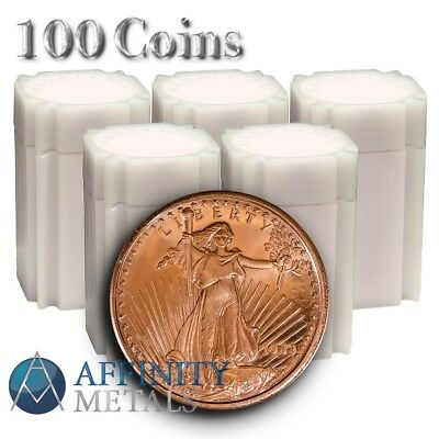 100 Coins-  Saint Gaudens 1 oz .999 Copper Bullion Rounds