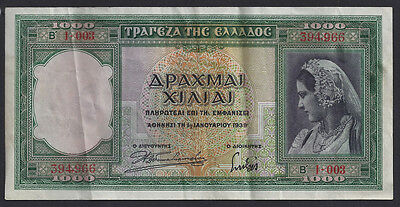 Greece 1000 Drachmai, P#110a, Nice EF Note