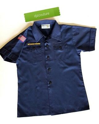 BSA Cub Boy Scouts Of America Official Youth M Uniform Shirt Blue 580