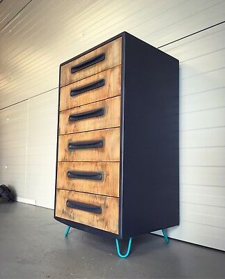 G Plan Vintage Retro Teak Tallboy Drawers Industrial Chic Upcycled Hairpin Legs