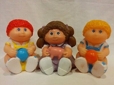 Vintage 3 Cabbage Patch Kids doll boy girl figure coin piggy bank Star Power 80s
