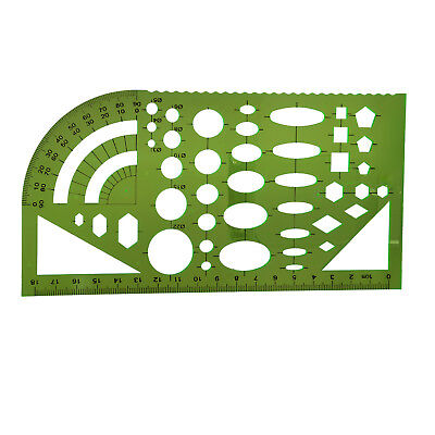 Tactics template template ruler plastic protractor student clear green O4S1